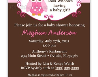 Look Whooo's Having  A Baby- Owl Baby Shower Invitation (Digital File)