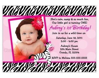 Little Zebra Birthday Party Invitation (Digital File)