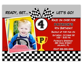 Racing Car Boy Birthday Party Invitation