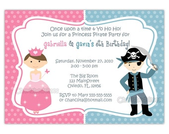 Princess And Pirate or Knight Zebra or Dots Background Birthday Party Invitation (You Print)