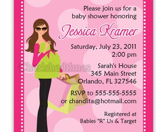 Chic Modern Mom To Be-Baby Girl or Boy Shower Invitation Digital File