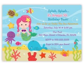 Under The Sea Birthday Invitation Choose Mermaid (You Print)