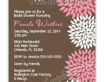 Blooming Flowers Bridal or Baby Shower, Birthday Invitation (You Print)