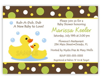 Rubber Ducky Baby Shower Invitation GIrl, Boy or Neutral (Digital File)