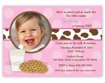 Milk And Cookies Photo Birthday Invitation Girl or Boy (You Print)