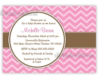 Mod Chevron Any Color Baby Shower or Any Event Invitation (Digital File)