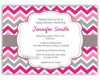 Modern And Colorful chevron Baby shower, Brthday or Any event Invitation. (Digital File)