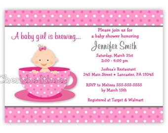 Little Baby Tea Cup Baby Shower Invitation (Digital File)