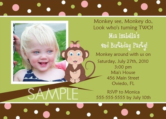 Cute Monkey And Dots Boy Or Girl Birthday Party Invitation (Digital File)