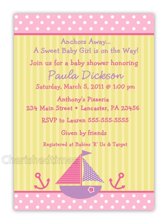 Nautical Girl Baby Shower Invitation (You Print)