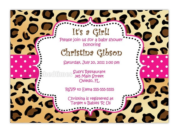 leopard zebra or any animal print baby shower birthday or any event