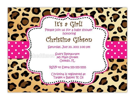 Leopard Zebra Or Any Animal Print Baby Shower Birthday Or Any