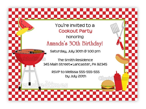 Cookout Any Birthday Invitation You Print