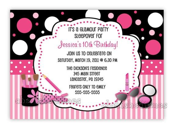 Glamour Make Up Party Einladung Geburtstag Drucken