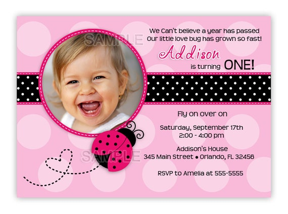 Pink with Hot Pink or Red Ladybug Birthday Photo Card Invitation (You Print)