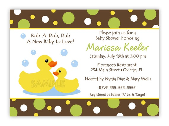 Rubber Ducky Baby Shower Invitation GIrl Boy or Neutral