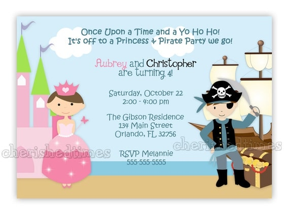 la princesse et le pirate style 2 invitation anniversaire. Black Bedroom Furniture Sets. Home Design Ideas