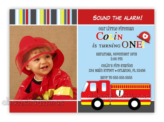 Little Firetruck Birthday Photo Card Invitation (You Print)