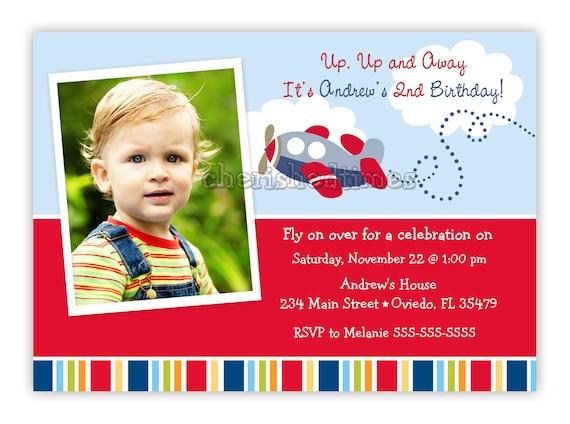 Little Airplane Birthday or Baby Shower Invitation (Digital File)