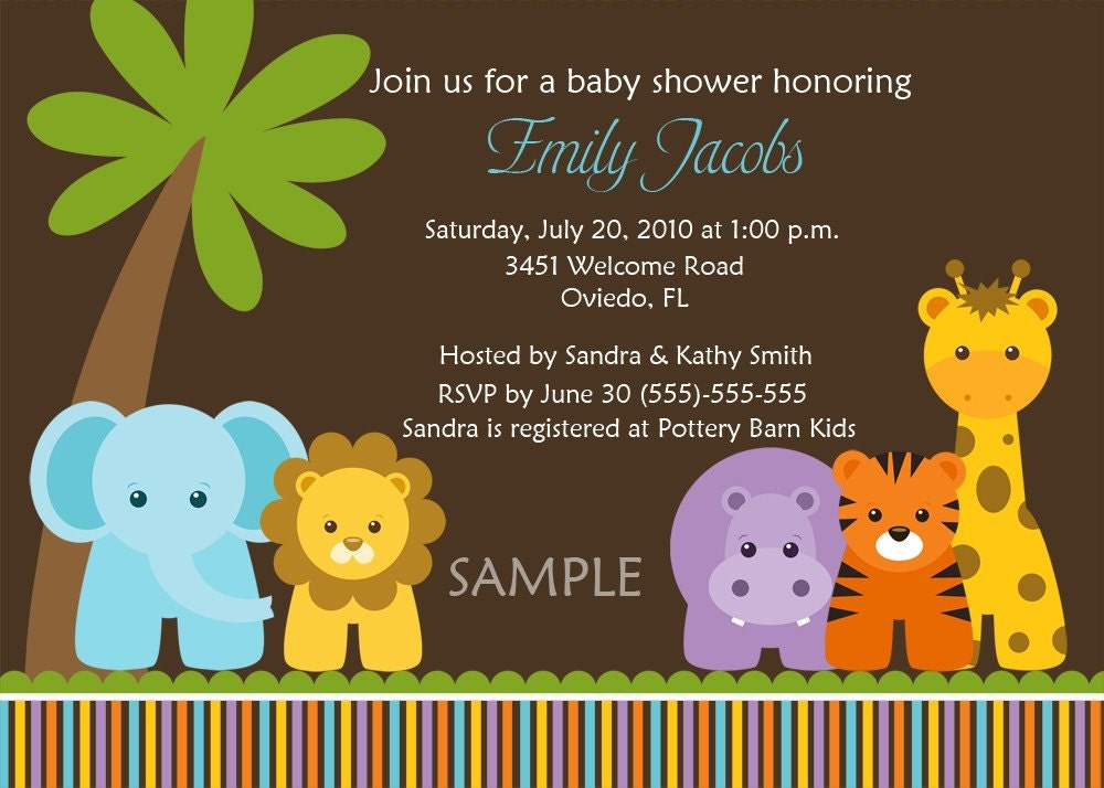 jungle safari wild animals baby shower birth announcement or