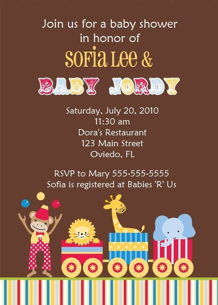 circus carnival baby shower birth announcement or birthday