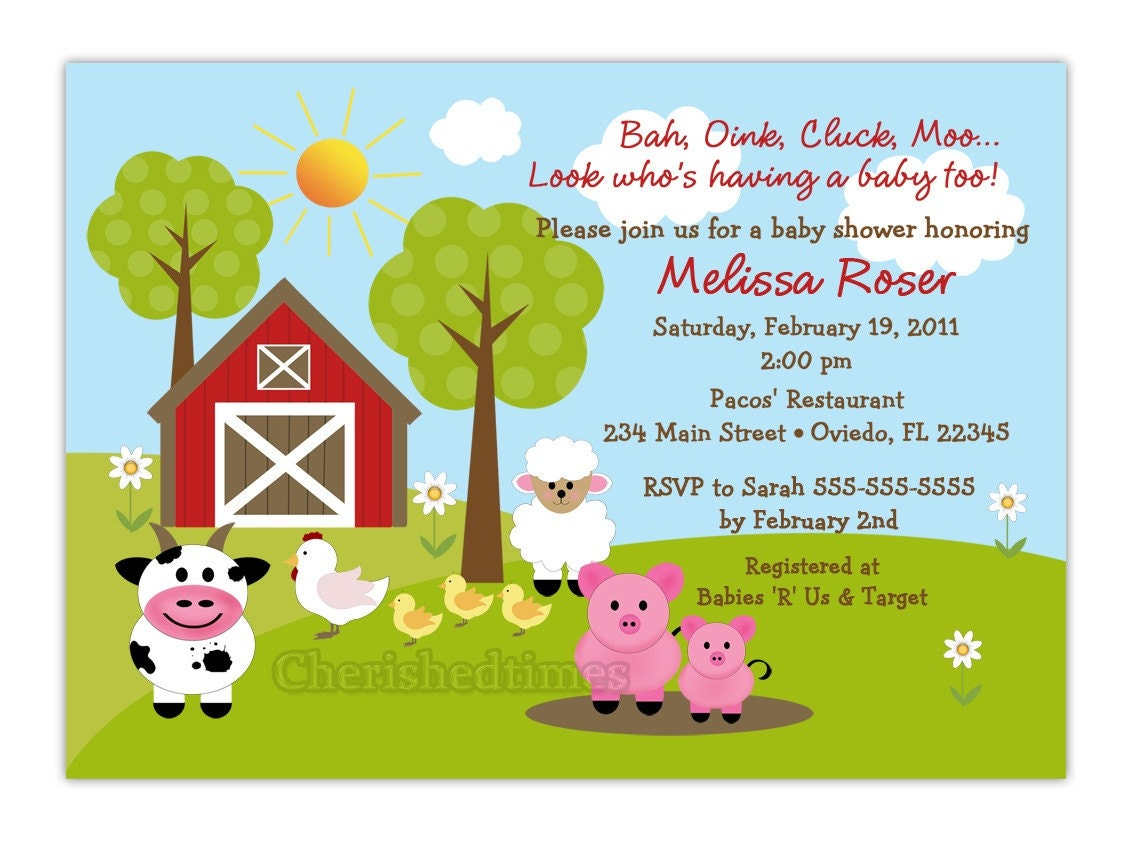 barnyard farm animals baby shower invitation you print
