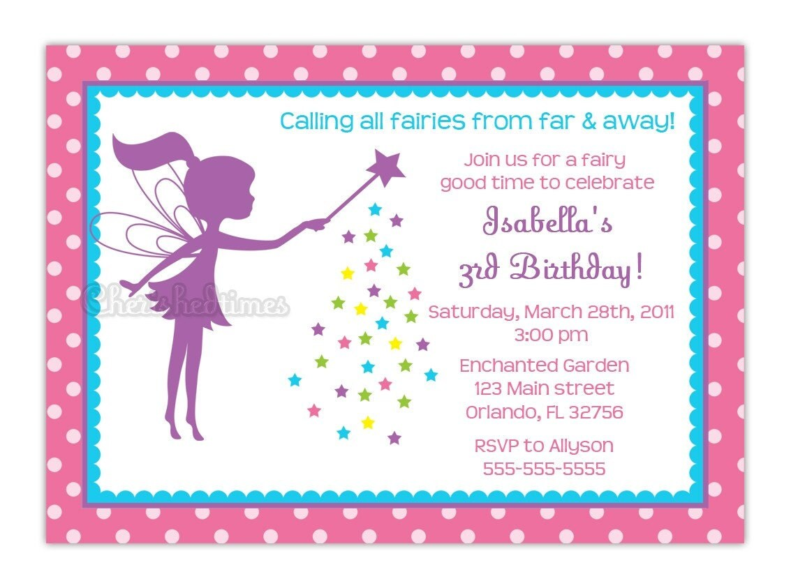 Little Fairy Silhouette Birthday Party Invitation Choose Fairy