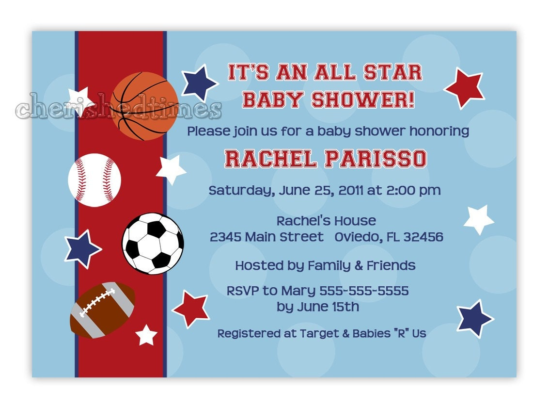 all star sports baby shower or birthday party invitation