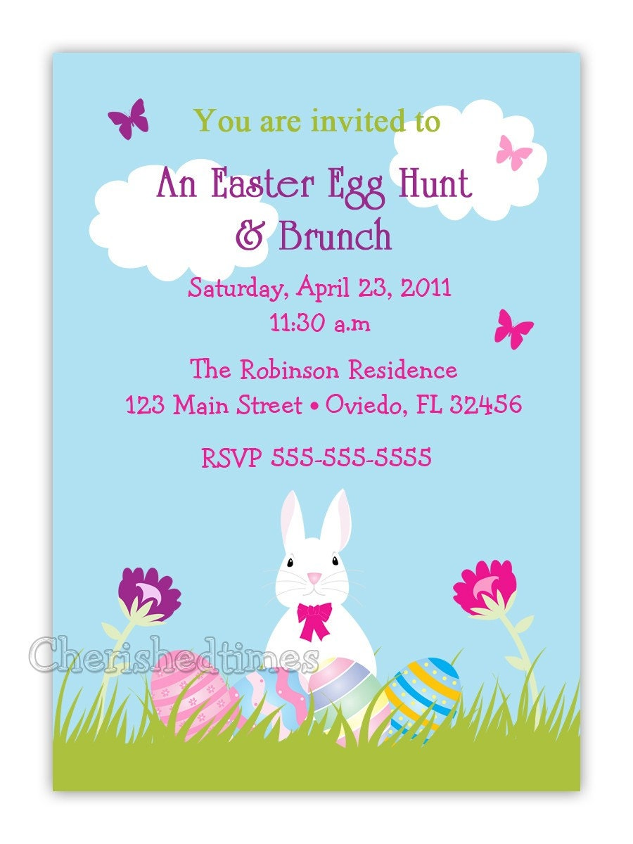 Eggs & Bunny Easter Birthday Party or Baby Shower Invitation