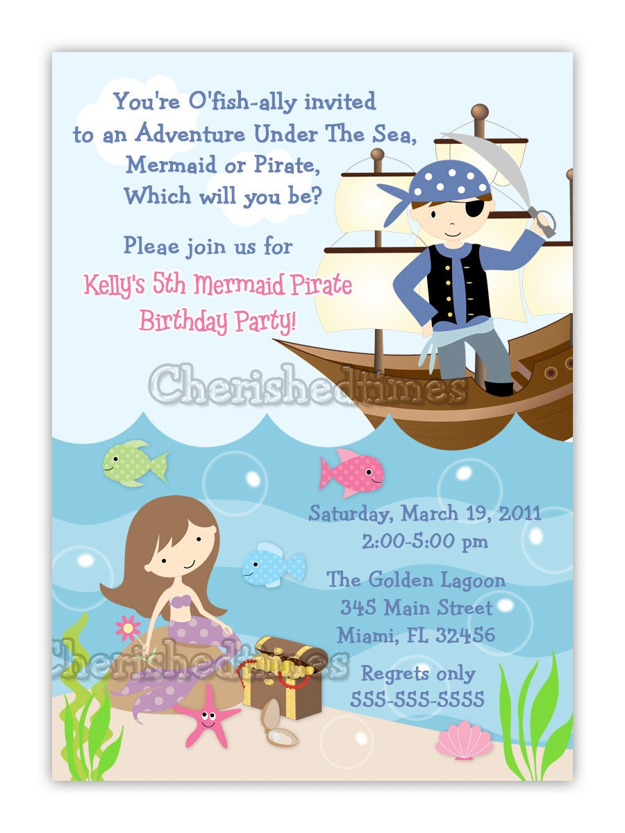 vertical mermaid and pirate birthday invitation by cherishedtimes. Black Bedroom Furniture Sets. Home Design Ideas