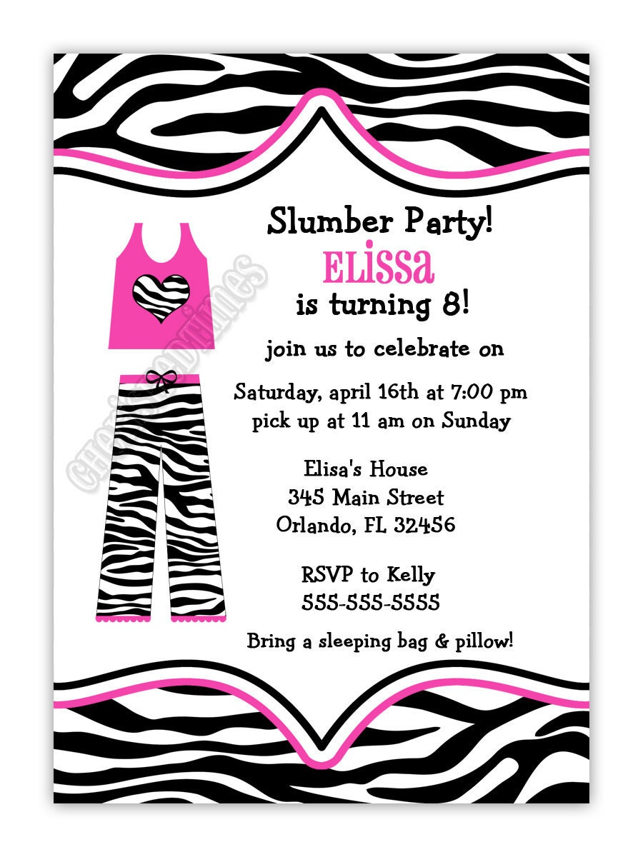 Zebra Print Pajama Slumber Birthday Party Invitation You