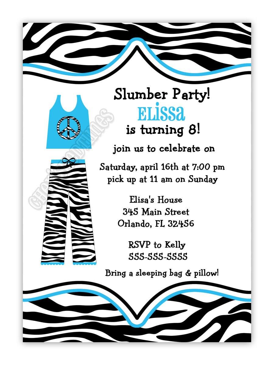 zebra drucken pyjama pyjama party einladung geburtstag. Black Bedroom Furniture Sets. Home Design Ideas