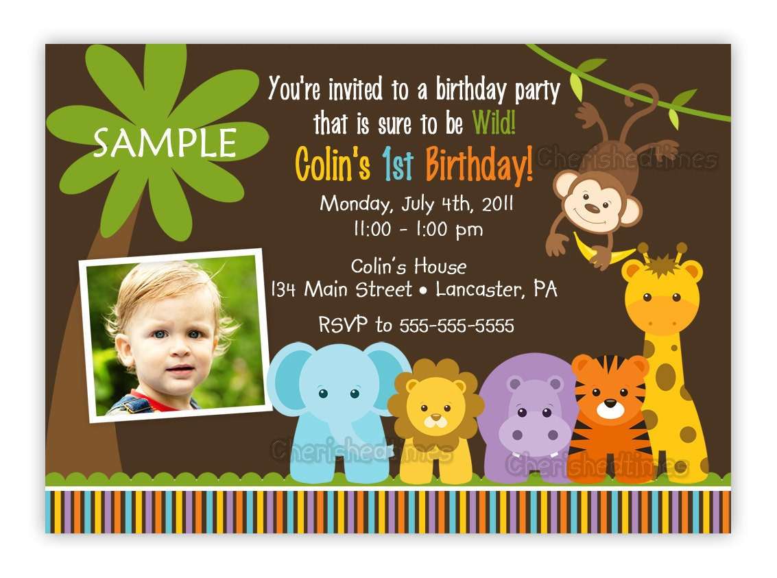 Wild Jungle Theme Birthday Party Invitation Boy Or Girl You – Zoo Themed Birthday Invitations