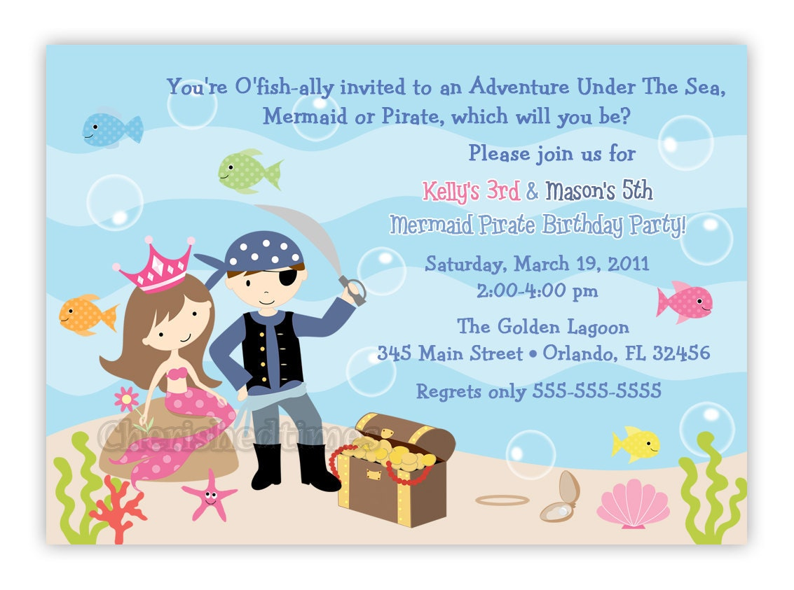 Pirate And Mermaid Birthday Party Invitation Digital File
