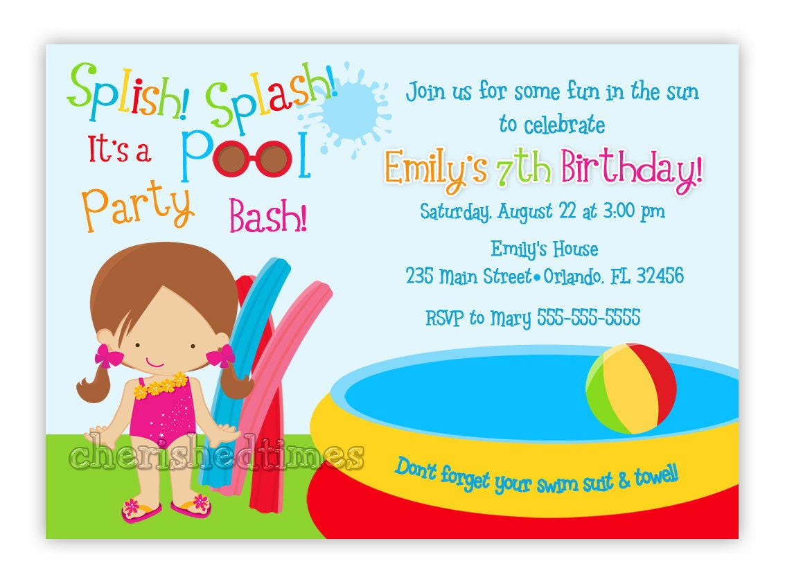 Pool Party Invite Wording with good invitation example