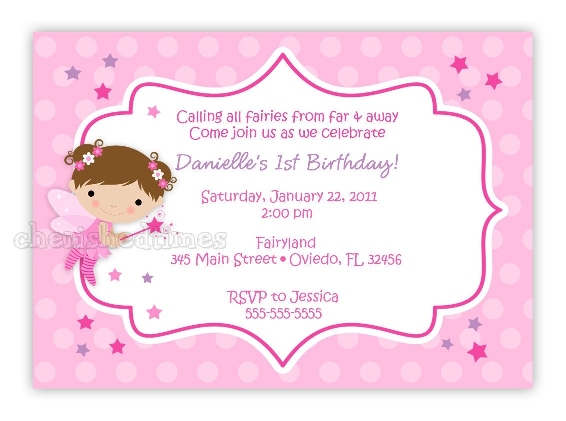Lil' Fairy Princess Birthday Party Invitation You Print