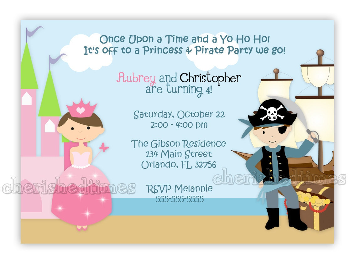 princess and pirate style 2 birthday invitation you print. Black Bedroom Furniture Sets. Home Design Ideas