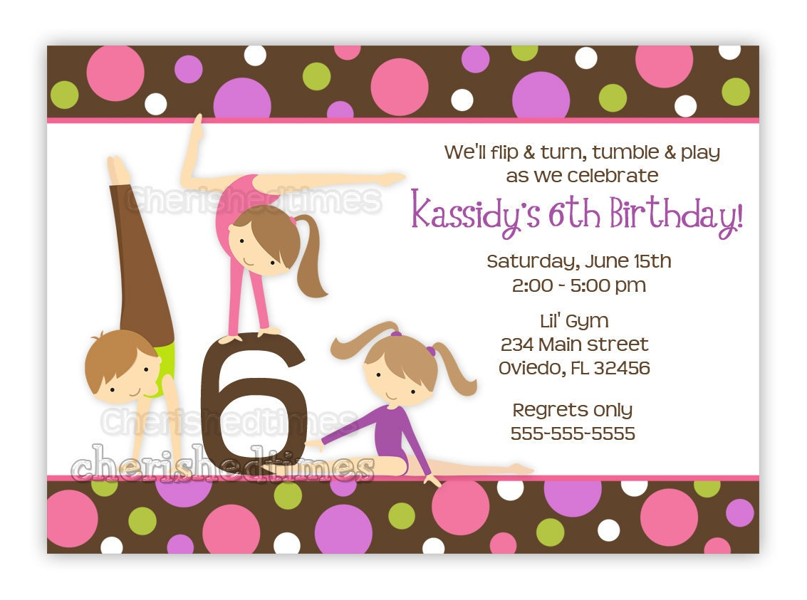 Gymnastics Girl Birthday Party Invitation With Picture or – Gymnastics Party Invitation