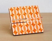 Business card holder, desk card holder, desk accessories ,desk organizer, office decor, home decor, coworker boss gift, retro orange tiles