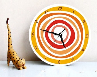 Orange Circles geometric large modern unique kitchen housewarming handmade graphic design wall clock