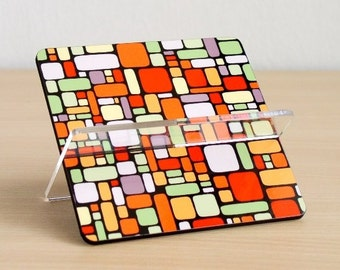 Colorful bricks business card holder,geometric card holder,decorative desk organizer,printed card holder,unique modern desk accessories