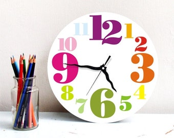 Large wall clock,rainbow colorful Big numbers clock,kids bedroom clock,childrens room decor,round wall clock,wood clock,printed wall clock