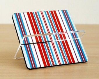 Desk organizer business card holder blue red white stripes desk accessories office organizer him men dad dude guys stand coworker boss gift