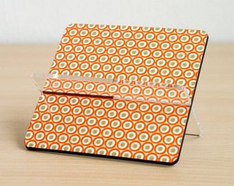 Business card holder desk accessories desk organizer home office orange pumpkin polka dots