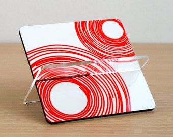 Business card holder, card holder, desk accessories ,desk organizer, office decor, home decor, coworker boss gift, red swirls circles