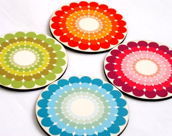 Coaster set,colorful Polka Dots,Retro Drink Coasters,set of four costers,gift idea,wooden costers,printed coaster,home decor