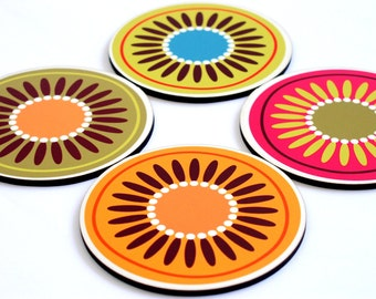 Coaster set,retro coasters,Bright Flowers,decorative coasters,round coasters,printed coasters,drink coasters,home decor,set of 4