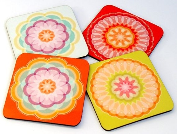 Wood coasters, Drink coasters, Wooden coasters, Mandala Pastel Geometric set of four Modern drink coasters