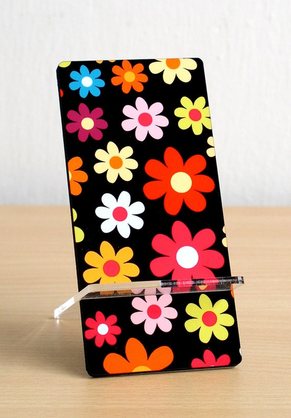 iphone stand Business card holder cell holder desk organizer colorful flowers on black