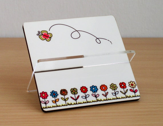 Business card holder desk accessories storage organization home office decor friends coworker boss gift colorful flowers flying butterfly